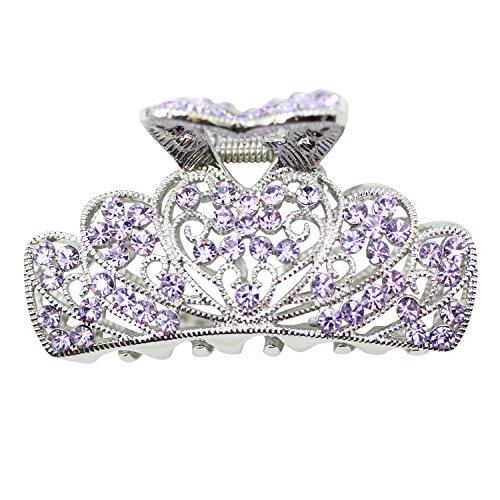 Purple Rhinestone Crystal - Faship Violet Light Purple Rhinestone Crystal Floral Hair Claw - Violet,B101040E3N1