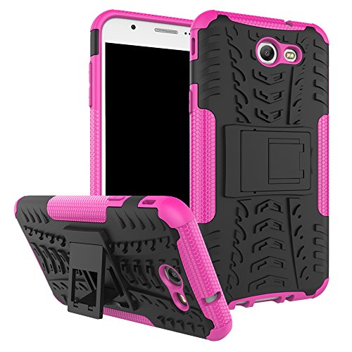 Galaxy J7 V Case, Galaxy J7 Prime, Galaxy Halo, Galaxy J7 Perx, Galaxy J7 Sky Pro, Galaxy J7 2017, KMISS Hybrid Heavy Duty Armor Protection Cover [Anti Slip] [Built-In Kickstand] Skin Case (Pink)