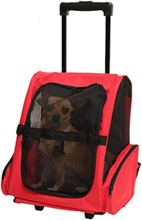 Carro para mascotas Pet Trolley Case Dog Out Pack Carrier Car Bag Portable Cat Bag Transpirable doble hombro Korah Portable Cochecito para mascotas Gato / Perro ( Color : Rojo , tamaño : 36*30*49cm )