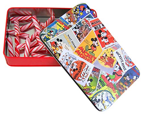 Disney Mickey Mouse 90th Anniversary Tin with Peppermint Sticks, (Classic Mickey)