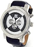 Mens Techno Master Genuine Diamond Watch Silver Case Black Leather Band #TM-2081-A