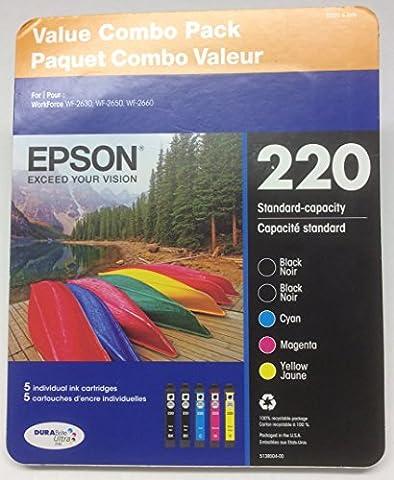 EPSON 220 Value Combo Pack ~ 2 Black, 1 Cyan, 1 Magenta, 1 Yellow Ink Cartridges (Epson 220 Inks)