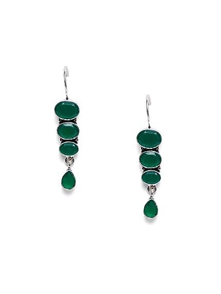 721e56f2c Amazon.com: Sterling Silver Green Stone Earring Set Indian Wedding Wear  Earring Set Women Earrings Jewelry: Jewelry