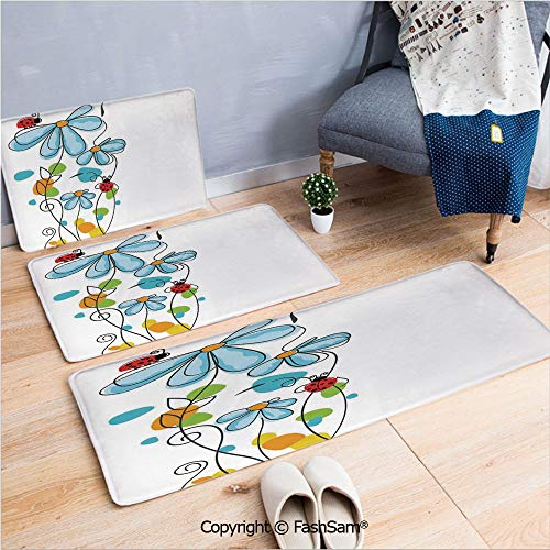 - 3 Piece Non Slip Flannel Door Mat Flowers and Oval Dome Shaped Ladybugs Illustration Never Ending Love Story Luck Symbol Indoor Carpet for bath Kitchen(W15.7xL23.6 by W19.6xL31.5 by W35.4xL62.9)