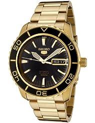 Seiko Mens SNZH60 Seiko 5 Automatic Black Dial Gold-Tone Stainless Steel Watch