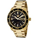 Seiko Men's SNZH60 Seiko 5 Automatic Black Dial Gold-Tone Stainless Steel Watch