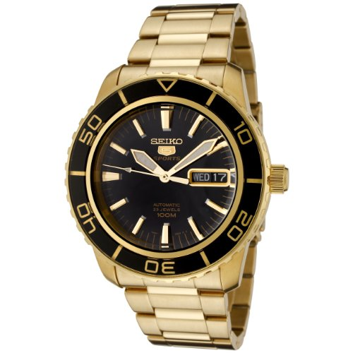 Seiko Men's 5' Japanese Automatic Gold-Tone-Stainless-Steel Casual Watch, Color:Gold (Model: SNZH60) ()