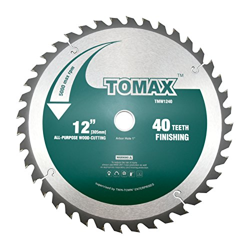 TOMAX 12-Inch 40 Tooth ATB Finishing Saw Blade with 1-Inch Arbor