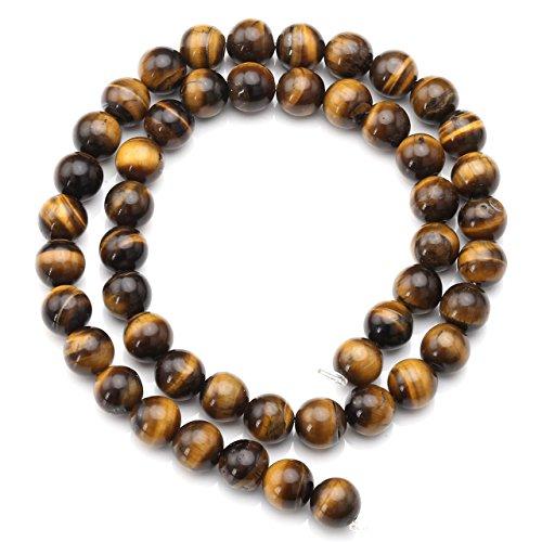 Jovivi 8mm Oeil de Tigre Perle Pierres d'Energie Naturelles Pour Collier Bracelet DIY - Longueur 38cm