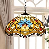 Tiffany Style Pendant Lamp - European Retro Creative Stained Glass Love Decorative Pendant Light - Simple Personality Living Room Dining Room Bedroom 16 Inch Art Chandeliers