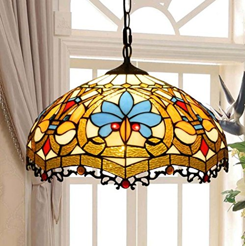 Art Glass Stained Glass Chandelier - Tiffany Style Pendant Lamp, European Retro Creative Stained Glass Love Decorative Pendant Light, Simple Personality Living Room Dining Room Bedroom 16 Inch Art Chandeliers