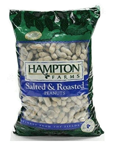 Hampton Farms Salted & Roasted In-shell Peanuts * Large Bag * Net Wt. 80 Oz (5 Lbs.) (Peanuts Shell Salted)