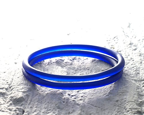 Glassoholics Cobalt Blue Stackable Bangles - Set of Two - Recycled Riesling Wine Bottle Bracelets ()