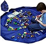 "Toy Storage Bag Lego Organizer Play Mat - Blue 60"" 2 in 1Heavy Duty Lego Rug Activity Blanket Mat / Cinch Bag Children Kid Proof Drawstring Clean Up Floor Swoop in Guaranteed by SLT Products"