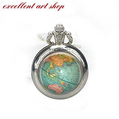 World Map Pocket Watch Necklace, Vintage World Map, Nautical, Vintage Gold or Silver Pocket Watch by excellent art shop