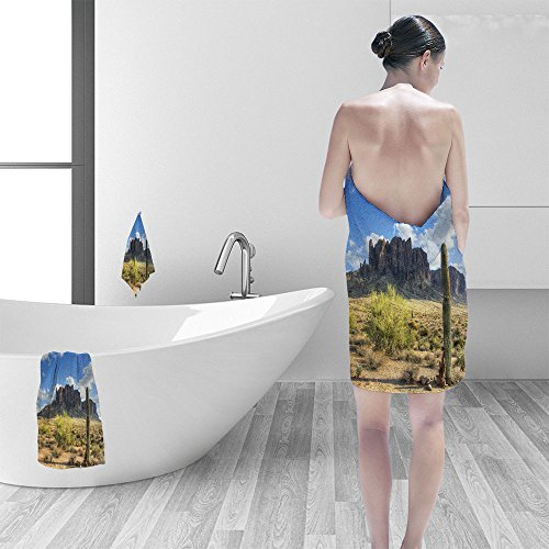- Nalahomeqq Bath towel set Famous Superstition Mountain in Arizona framed lone saguaro cactus shows the beauty of this dry desert landscape 3D Digital Printing No Chemical OdorEco-Friendly Non Toxic