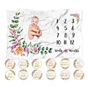 ELLO Home Baby Fleece Monthly Milestone Blanket with 12 Stickers | 60 x40  Large Soft Month to Month Blanket Plush Infant Boy Girl Newborn Photo Prop Photography Keepsake | Registry Gift Baby Shower