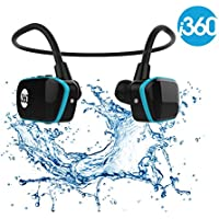 Bluetooth 8GB Waterproof MP3 Player Earphones Earbuds Headset i360 Black Edition Listen to your Music Whilst Swimming/Running/Training/Gym Fuss Free Without a Cord! Underwater Sport MP3 Music Player