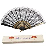 Metable Lace Folding Fan with Plastic Ribs Women Hand Held Fans for Dancing Cosplay Wedding Decoration(Black)