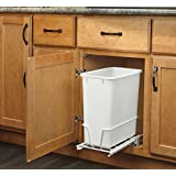 Rev-A-Shelf - RV-814PB - Single 20 Qt. Pull-Out White Waste Container with Adjustable Frame