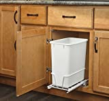 in cabinet garbage can - Rev-A-Shelf RV-814PB - Single 20 Qt. Pull-Out White Waste Container with Adjustable Frame