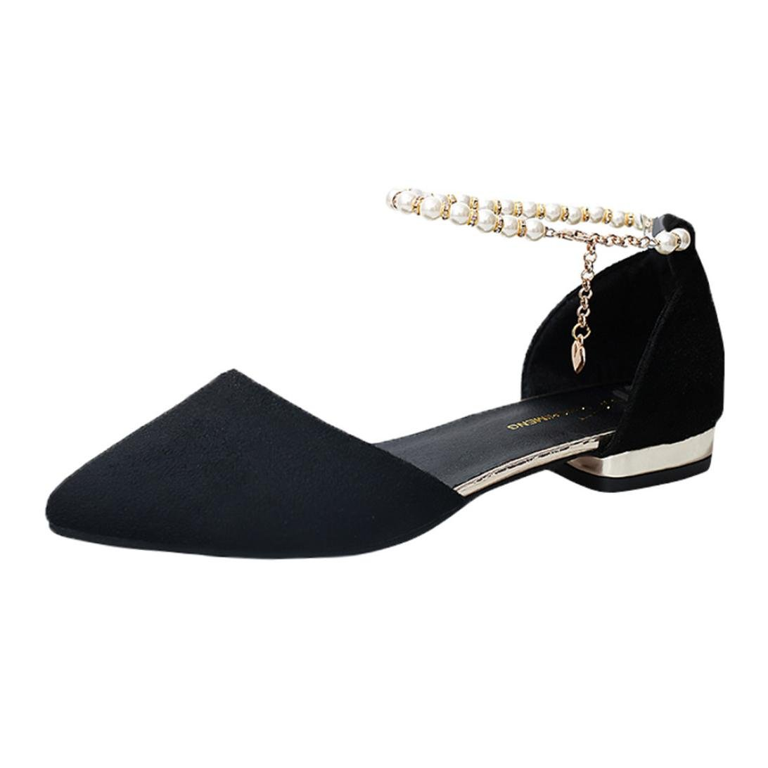 Clearance Universal Boho Beaded Sandal Flat Dress Shoes for Women, Junior Girl Gladiator Flip-Flop Wide Buckle Ankle Strap Low-Heeled Sandal Summer (Size 7.5, Black)