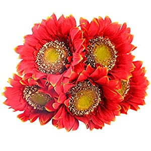 StarLifey 5 PCS Beauty Fake Sunflowers Artificial Silk Flower Bouquet Home Garden Fence Decoration (Orange Red) 24