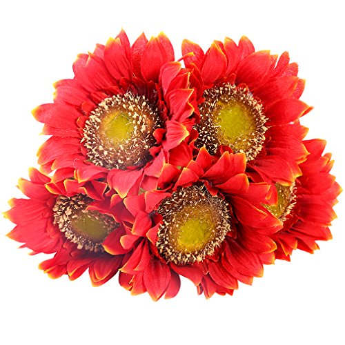 StarLifey 5 PCS Beauty Fake Sunflowers Artificial Silk Flower Bouquet Home Garden Fence Decoration (Orange Red)