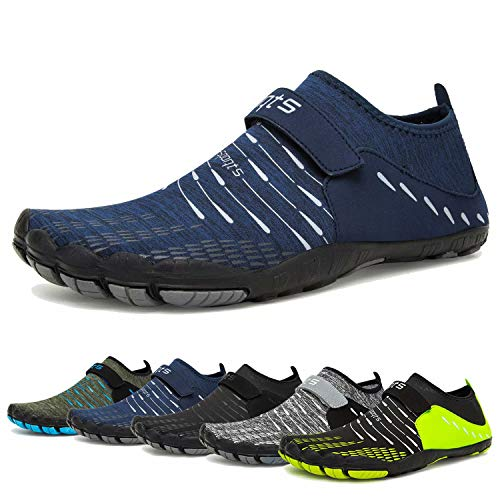 Water Shoes for Womens and Mens Quick Drying Aqua Shoes Beach Pool Shoes (B-Dark Blue, 45) (Wedding Shoes For Men)