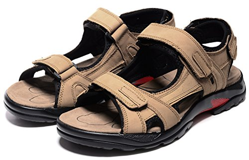 Toe Sandal Leather Khaki Men Outdoor Breathable ODEMA Peep XwnAx8TqBR