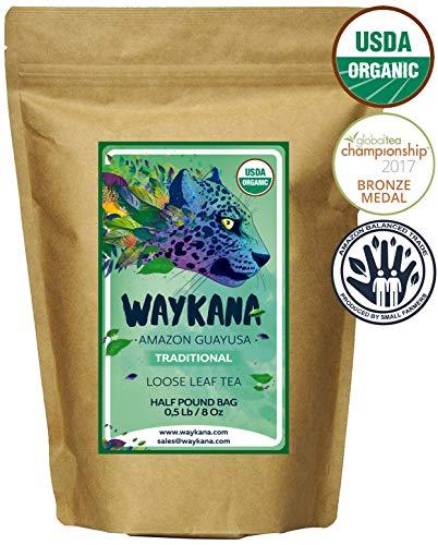 WAYKANA Guayusa Loose Leaf Tea, 1/2 Pound (8oz)   Balanced & Healthy Energy   Yerba Mate & Coffee Alternative   Boost Energy, Performance & Mental Clarity   Naturally Sweet   Feel the Jaguar Energy!