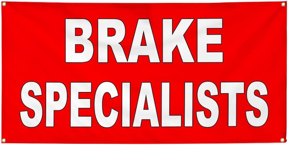 Set of 2 Vinyl Banner Sign Brake Specialists Red White Automotive Car Marketing Advertising Red 32inx80in 6 Grommets Multiple Sizes Available