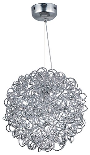 ET2 E32572-PC Dazed LED 8-Light Single Pendant, Polished Chrome Finish, Glass, G4 LED Bulb, 3W Max., Dry Safety Rated, 2900K Color Temp., Low-Voltage Dimmable, Glass Shade Material, 5250 Rated Lumens