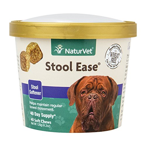 NaturVet - Stool Ease for Dogs - 40 Soft Chews - Helps Maintain Regular Bowel Movements - Enhanced with Sugar Beet Pulp, Flaxseed & Psyllium Husk - 40 Day Supply (Best Stool Softener For Constipation)