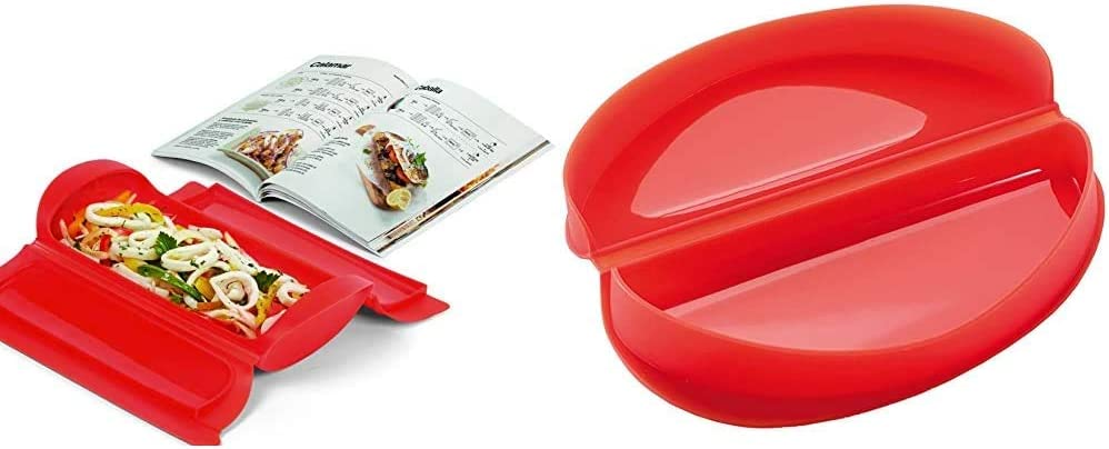 Lékué - Kit Estuche de vapor 1,2 personas + libro de recetas, 650 ml, Silicona + - Recipiente para cocinar tortillas francesas en microondas, color rojo: Amazon.es: Hogar