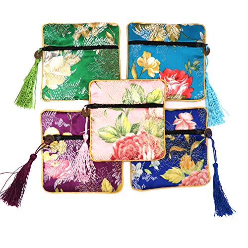 Outman 5 Pcs Chinese Silk Brocade Embroidered Jewelry Pouch Bag Coin Purses Gift Bag Zipper Pocket (Color 1) ()