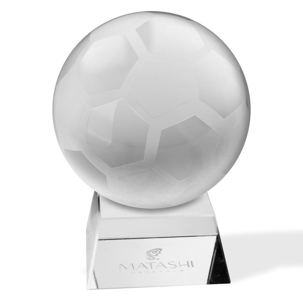 Crystal Paperweight with Etched Soccer Ball Ornament and Trapezoid Base