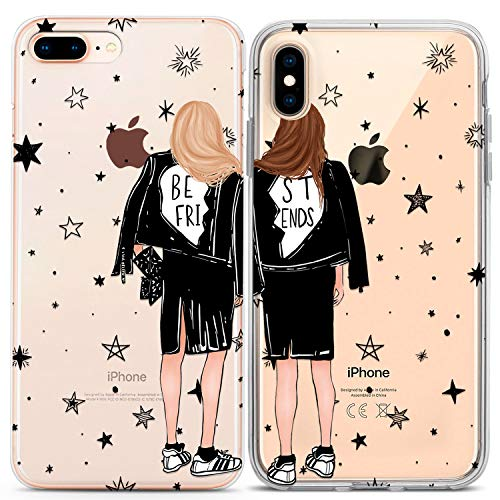 Lex Altern Cute Girly iPhone Case Xs Max Xr X 10 8 Plus 7 6s 6 SE 5s 5 Apple Best Friend Matching Stylish Soft Silicone Cover Transparent Stars TPU Anniversary Phone Women Bro Print Gift Teen BFF