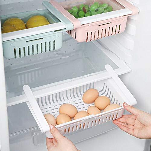 Qjoy Plastic Kitchen Refrigerator Storage Rack, Refrigerator Partition Layer Durable Storage Rack, Fruit Vegetable Holder, Kitchen Space Saver Organization, Blue, Apricot, White and Pink