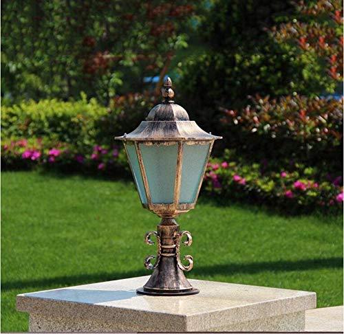 Outdoor Aluminium Path Lamp Bollard Lamp Fence Post Light Garden Column Pillar Light Bollard Super Bright Light Lamp E27 (Color : Bronze) ()