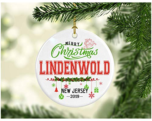 (Christmas Decorations Tree Ornament - Gifts Hometown State - Merry Christmas Lindenwold New Jersey 2019 - Ceramic 3 Inches White)