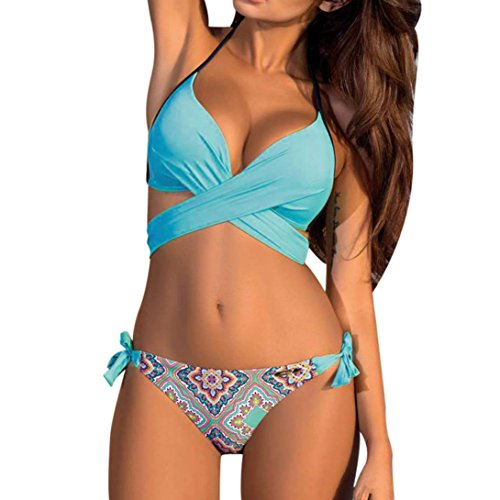 b2d91db102 WOCACHI Women Sexy Women Bikini Set Swimwear Push-up Padded Bra Print Swimsuit  Bathing Suit