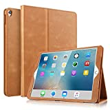 iPad Pro 10.5 Case - BoriYuan Vintage Genuine Leather Case Slim Folio Stand Cover for Apple iPad Pro 10.5 inch with Multiple Viewing Angles,Auto Sleep/Wake and Card Slot (Brown)