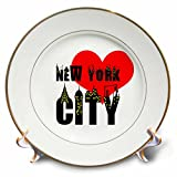 3dRose Alexis Design - American Cities - Stylish text New York City, red heart, shining windows on black - 8 inch Porcelain Plate (cp_286453_1)