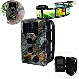 Game Trail Cameras with Night Vision 16 MP 1080P HD Trail Game Camera Hunting Scouting Camera with Time Lapse 65ft 120°Wide Angle Outdoor Wildlife Waterproof Infrared Hunting Camera