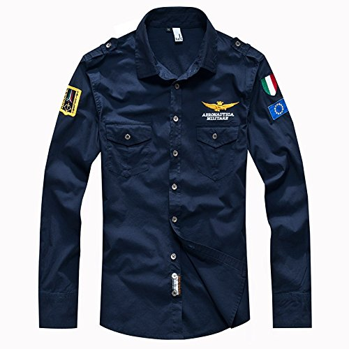 Jyz Marque Chemise Air Force One Hommes Chemise Hommes Chemise Cintrée Hommes Manches Robe Chemise Camisas Hombre Camisa Masculina Vert Armée