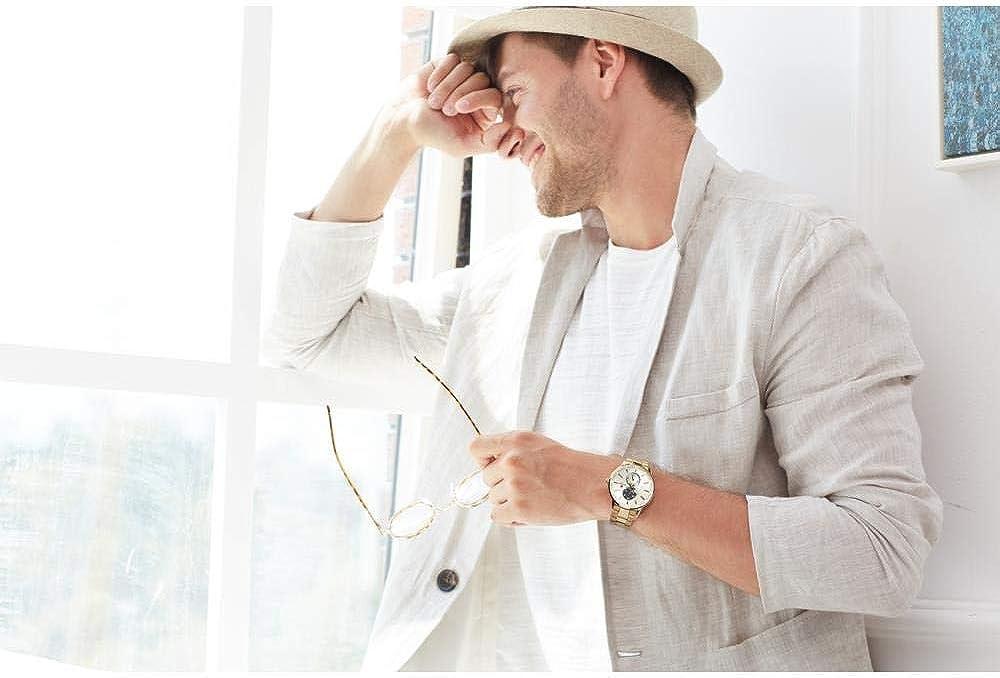 Montres Hommes Papillon en Acier d'affaires Multifonctions Boucle Montre De Mode Étanche Gold Shell