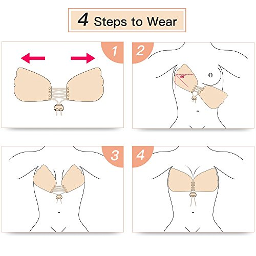 Veroyi Butterfly-Shaped Sticky Invisible Strapless Push-up Bra with Drawstring, Free Nipple Cover, Portable Storage Case (C Cup) by Veroyi (Image #3)