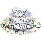 OLPro Berrow Hill Service de table en mélamine 16 pièces Multicolore