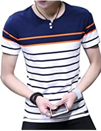 Pivaconis Men Slim T-shirts Striped Button Up Crewneck Short Sleeve